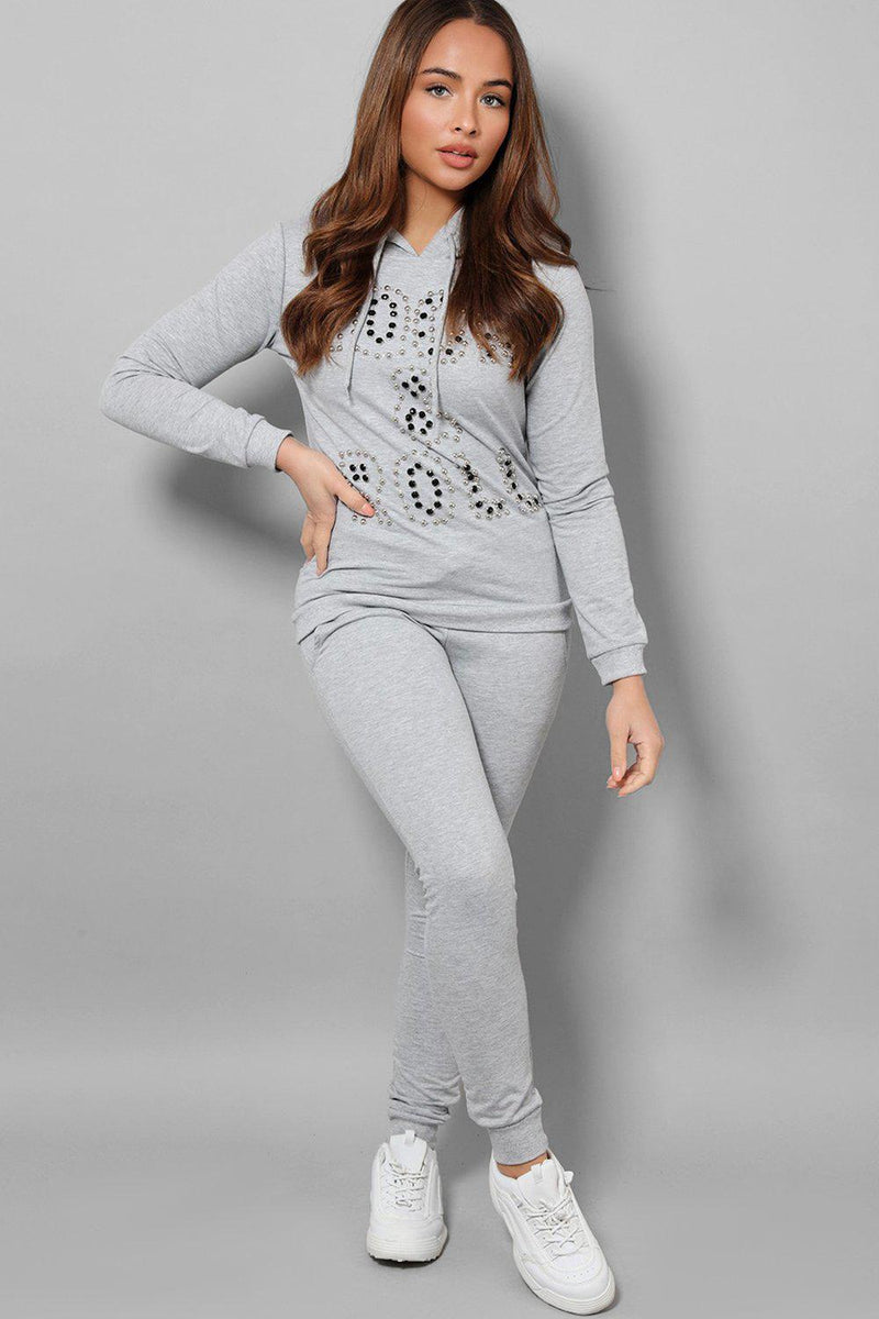Grey Beaded Slogan Front Hooded 2 Piece Tracksuit - SinglePrice