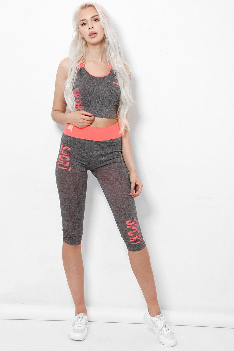 Pink Sport Print Cropped Legging And Top Set - SinglePrice