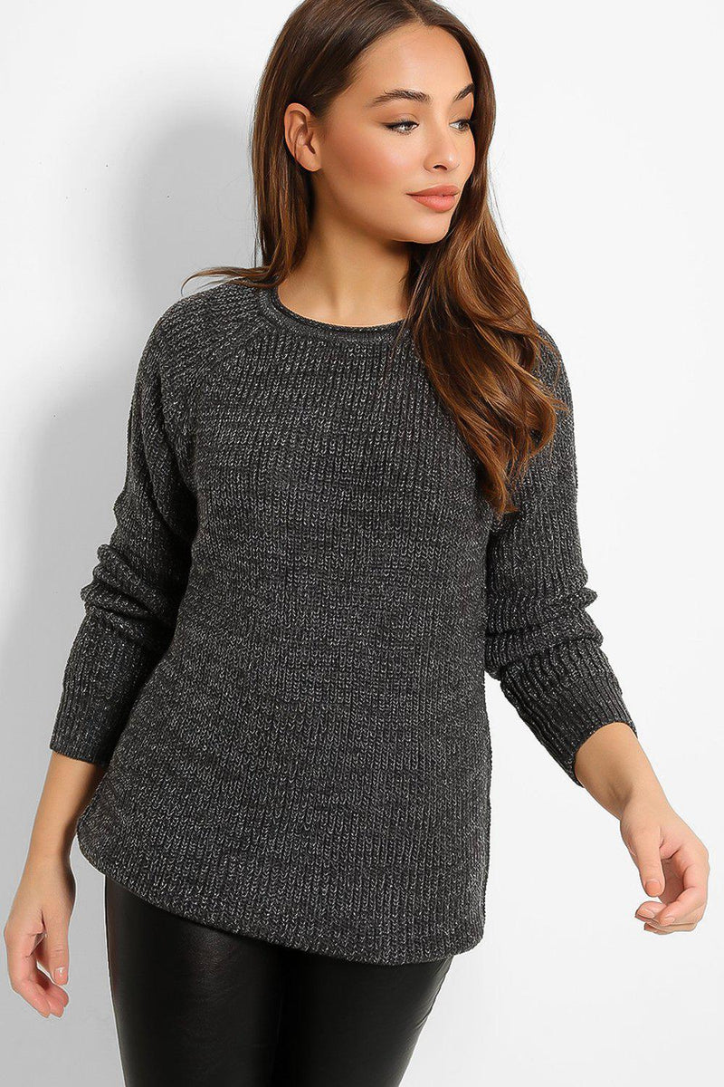 Grey Lurex Thread Rib Knit Pullover - SinglePrice