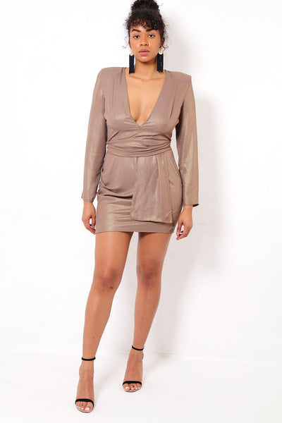 V-Neck Gild Shimmer Mini Dress-SinglePrice