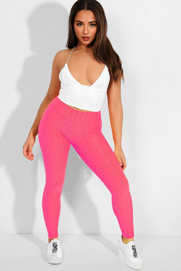 Neon Pink Ruched Back Textured High-Waist Leggings - SinglePrice