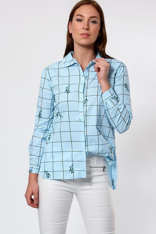 Floral Embroidered Blue Checked Cotton Shirt-SinglePrice