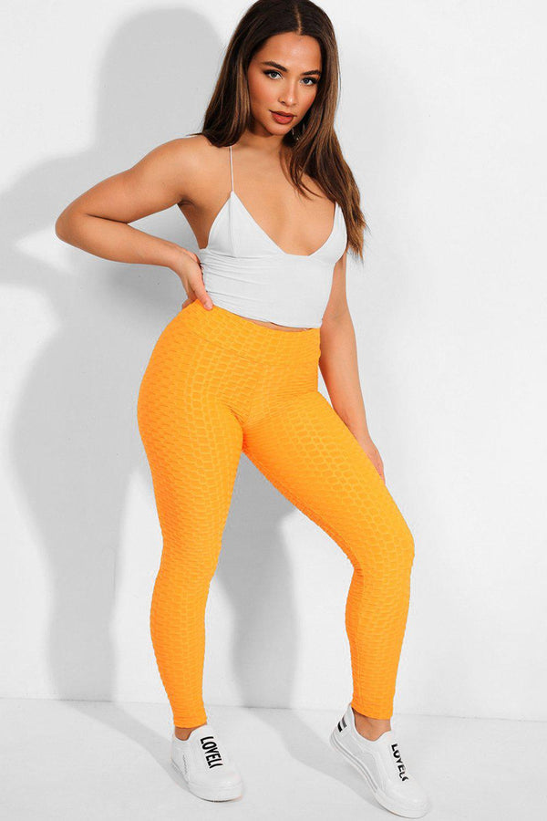 Neon Orange Ruched Back Textured High-Waist Leggings - SinglePrice