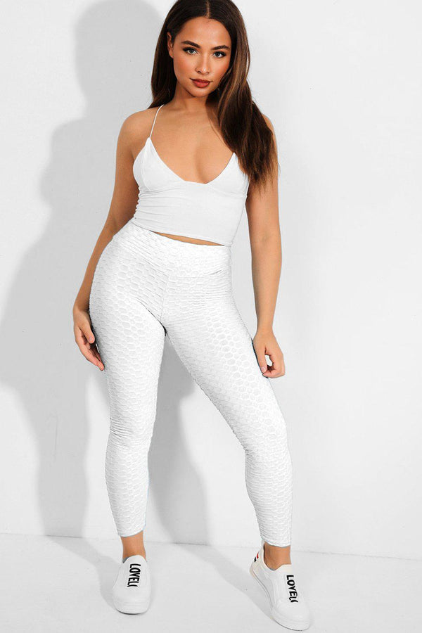 White Ruched Back Textured High-Waist Leggings - SinglePrice