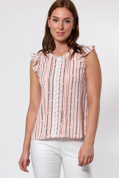 Pearls Embellished Pink Sleeveless Blouse-SinglePrice