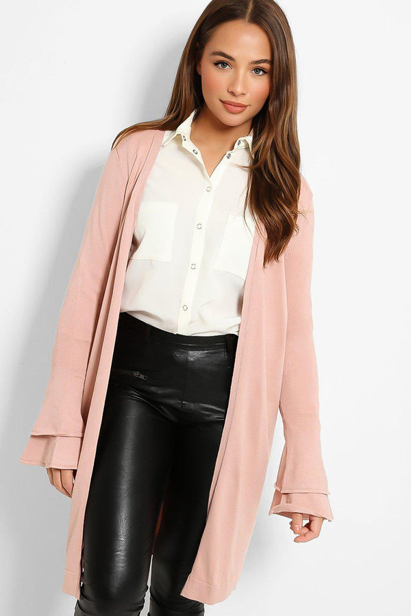 Pink Layered Bell Sleeves Open Front Flat Knit Cardigan - SinglePrice