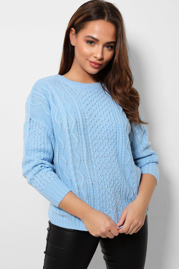 Sky Blue Cable Knit Bow Tie Back Jumpers-SinglePrice