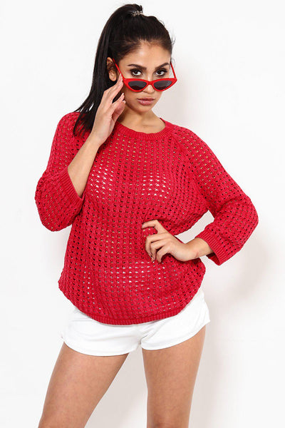 Perforated Knit Red Jumper-SinglePrice