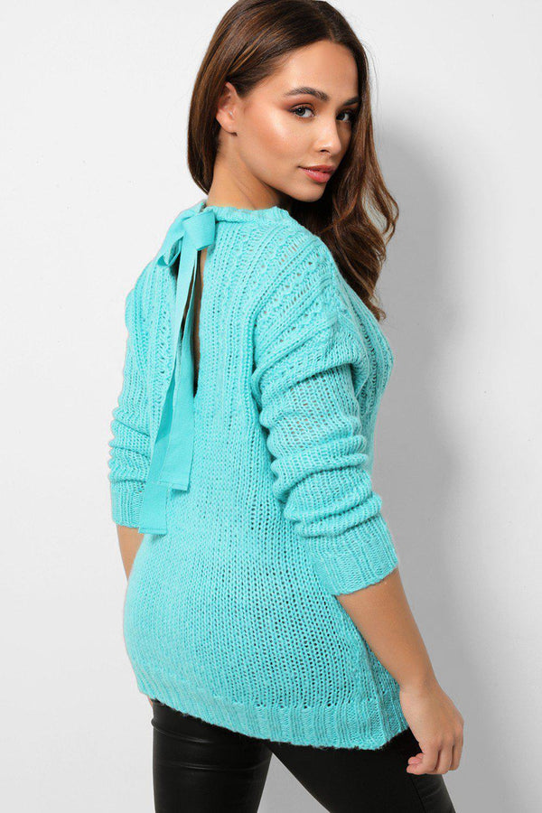 Aqua Soft Knit Bow Tie Back Jumpers