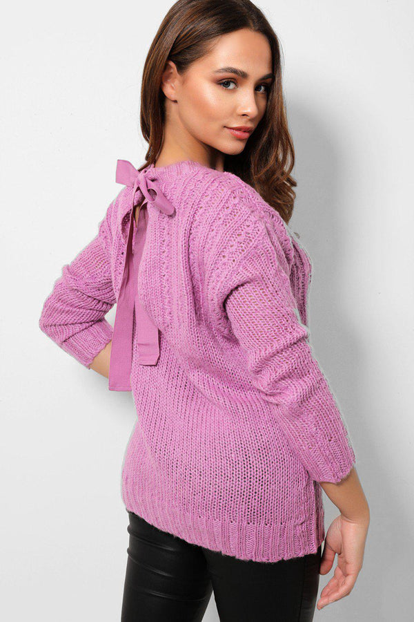 Purple Soft Knit Bow Tie Back Jumpers