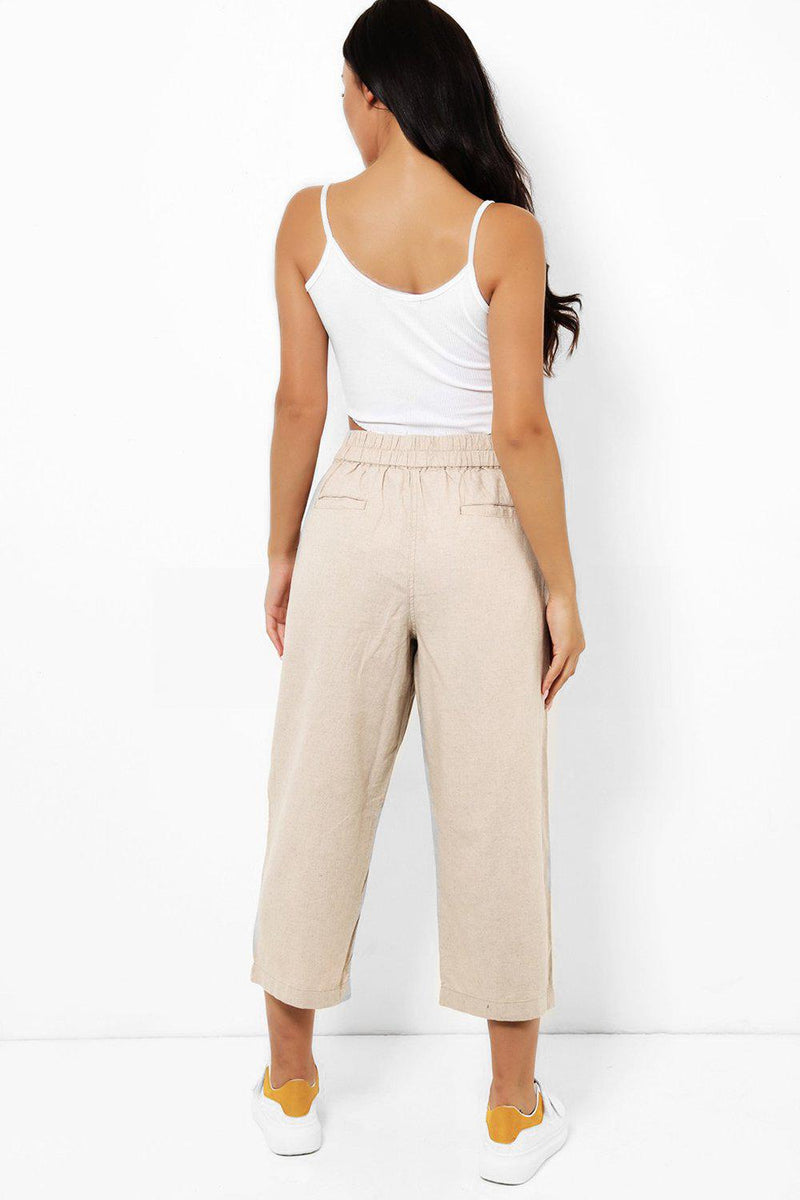 Beige Linen Mix Drawstring Culottes - SinglePrice