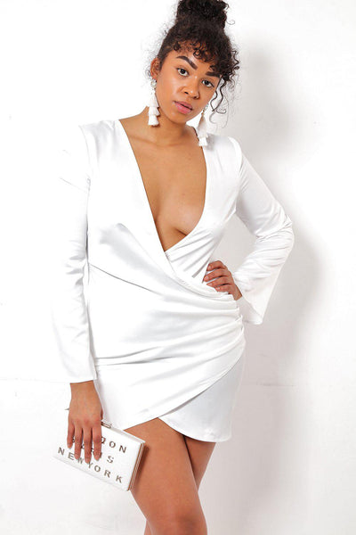 V-Neck Side Gathered White Dress-SinglePrice