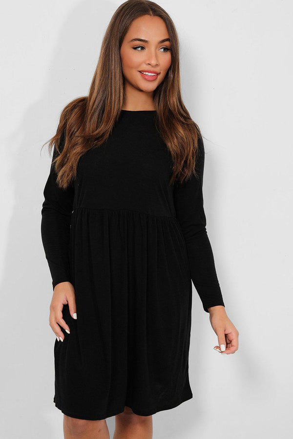 Black Jersey Babydoll Dress - SinglePrice