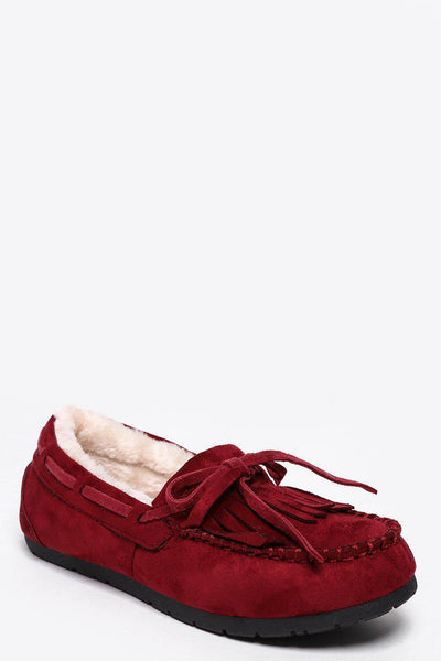 Faux Fur Lined Wine Red Loafer Flats-SinglePrice