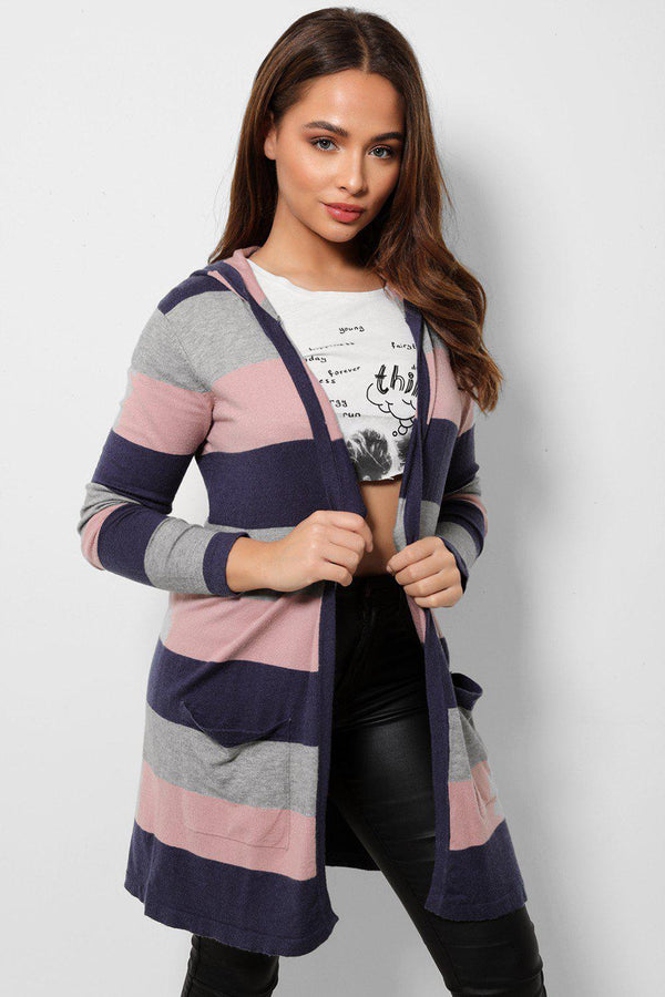 Pink Grey Hooded Open Front Cardigan-SinglePrice