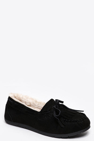 Faux Fur Lined Black Loafer Flats-SinglePrice