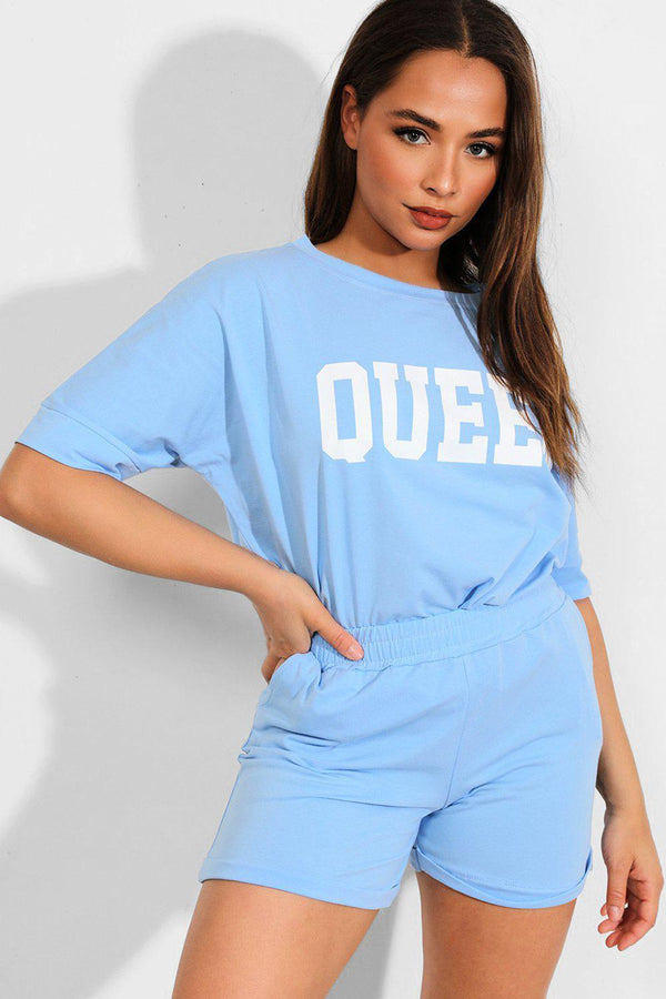 Blue QUEEN Slogan Front Top And Shorts 2 Piece Set-SinglePrice