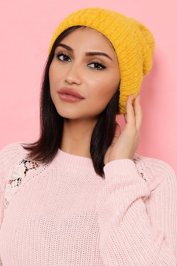 Yellow Cable Knit Pom Pom Beanie Hat