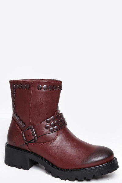 Studded Burgundy Square Heel Boots-SinglePrice