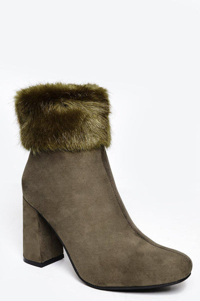 Fur Cuff Green Ankle Boots