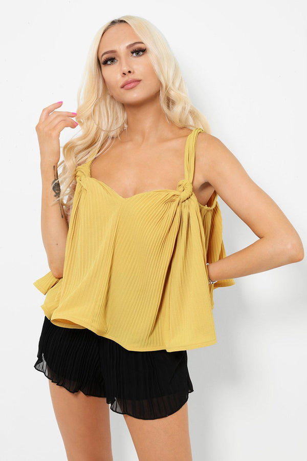 Mustard Relaxed Fit Pleated Cami Top - SinglePrice