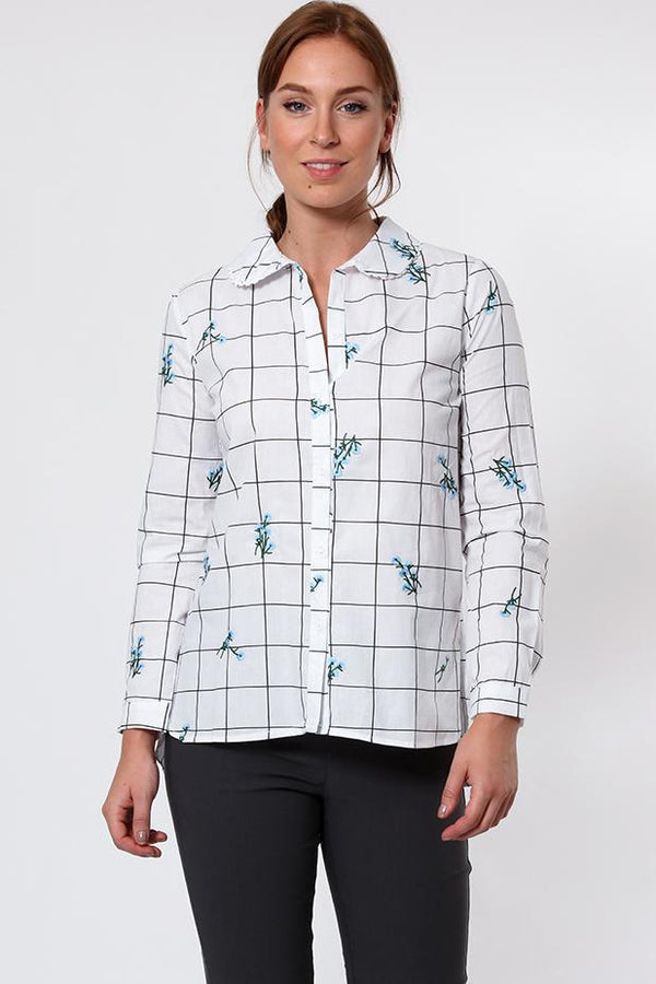 Floral Embroidered Checked Cotton Shirt-SinglePrice