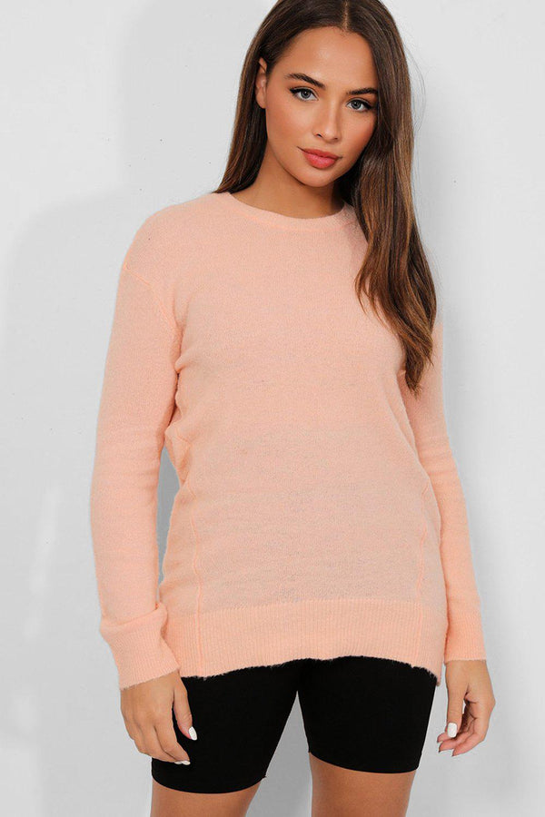 Peach Soft Flat Knit Seam Details Pullover - SinglePrice