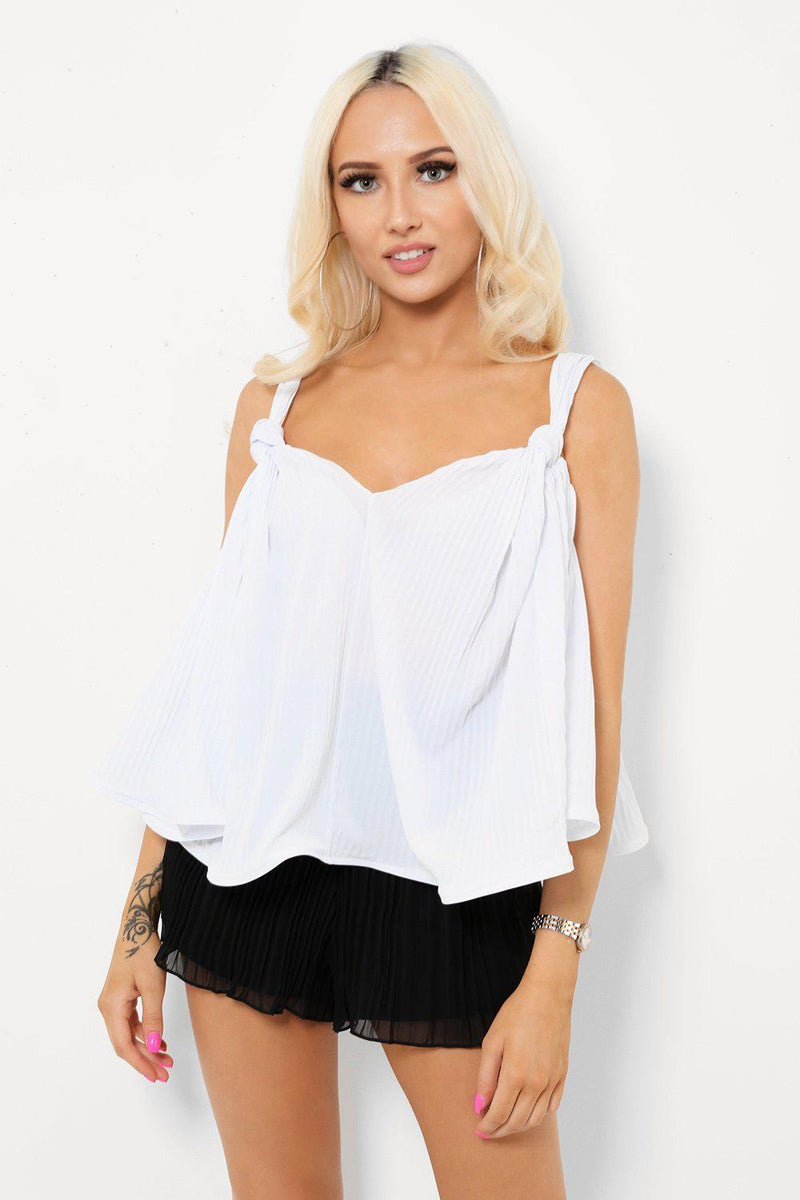 White Relaxed Fit Pleated Cami Top - SinglePrice