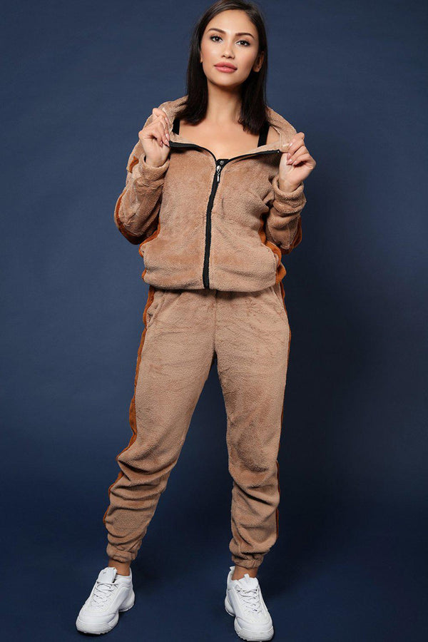 Beige Supersoft Fluffy Teddy Bear 2 Piece Tracksuit - SinglePrice