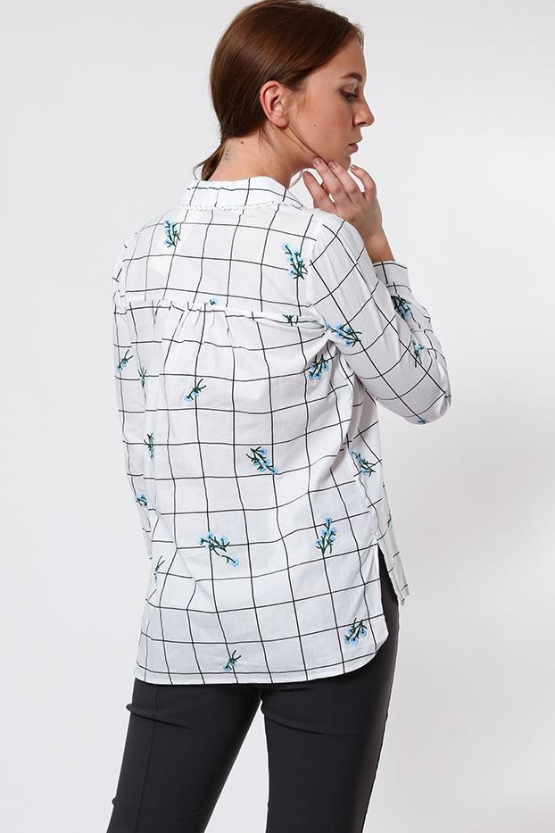 Floral Embroidered Checked Cotton Shirt - SinglePrice