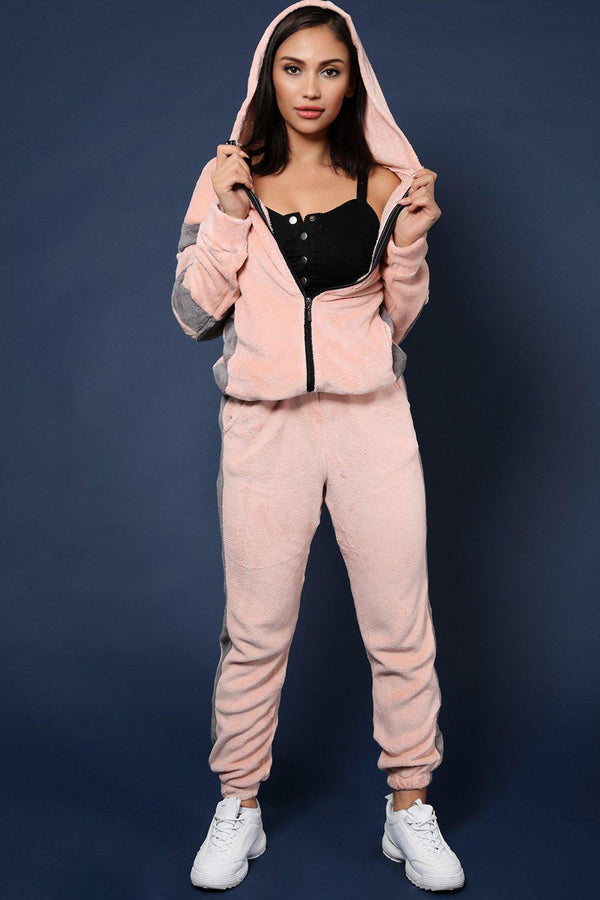 Pink Supersoft Fluffy Teddy Beer 2 Piece Tracksuit-SinglePrice