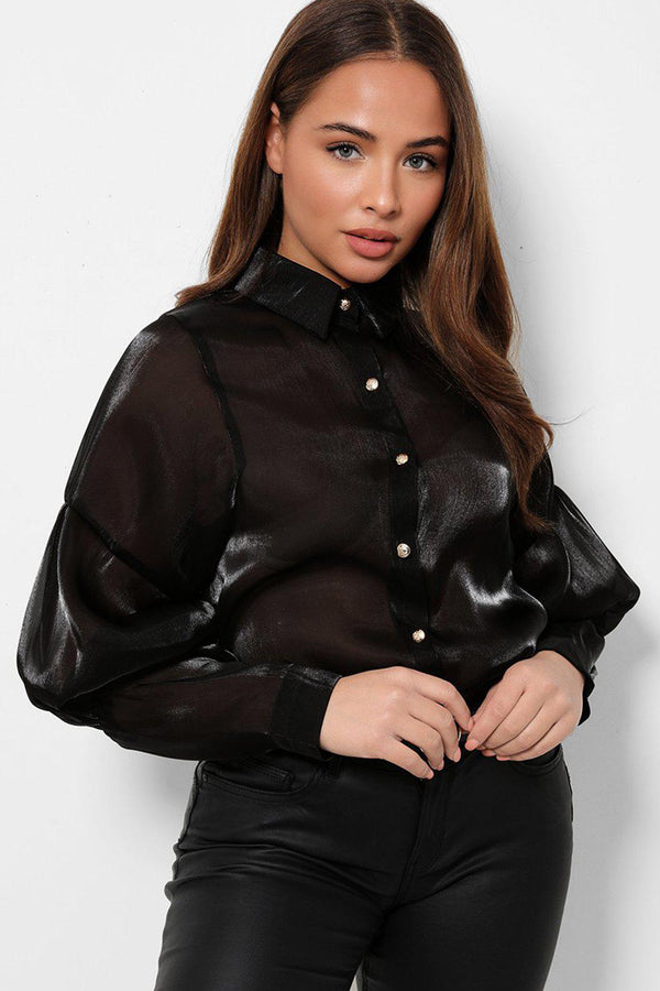 Black Puff Sleeves Organza Shirt-SinglePrice