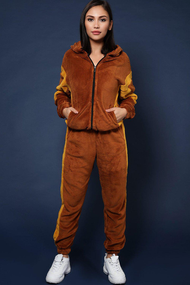 Brown Supersoft Fluffy Teddy Bear 2 Piece Tracksuit - SinglePrice