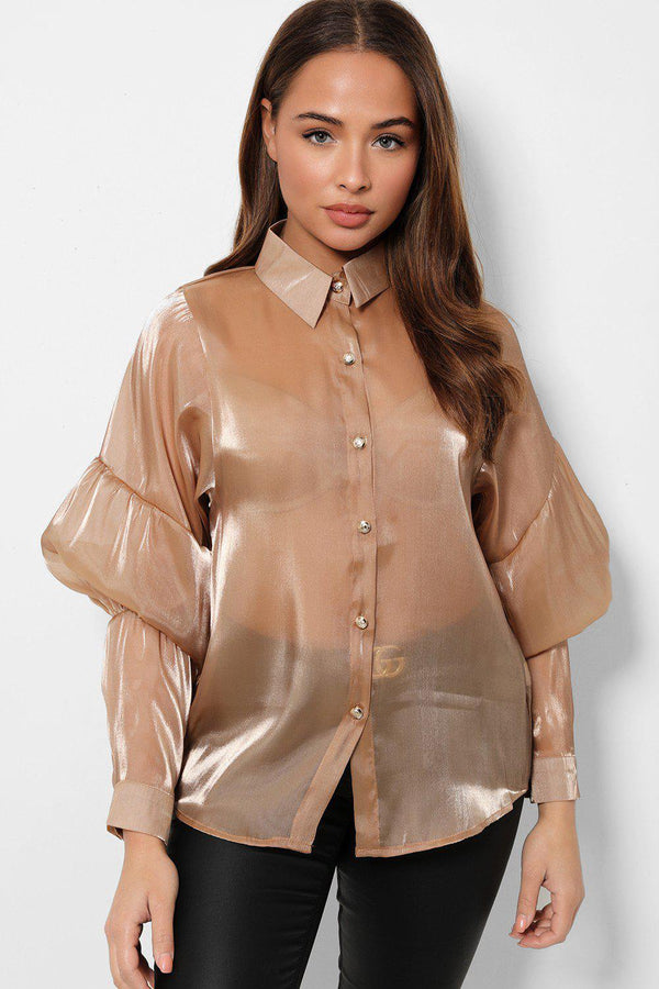 Brown Puff Sleeves Organza Shirt-SinglePrice