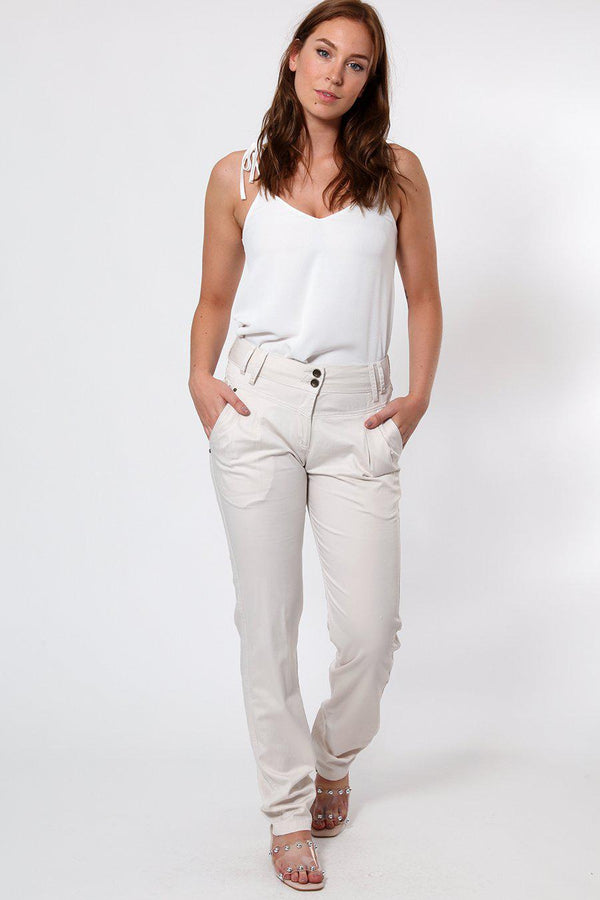 Yolk Waist Relaxed Cotton Trousers-SinglePrice