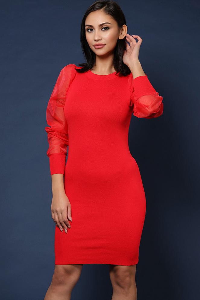 Organza Puff Sleeve Red Knitted Dress - SinglePrice