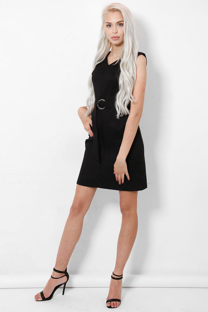 O-ring Belt V-Neck Black Dress - SinglePrice