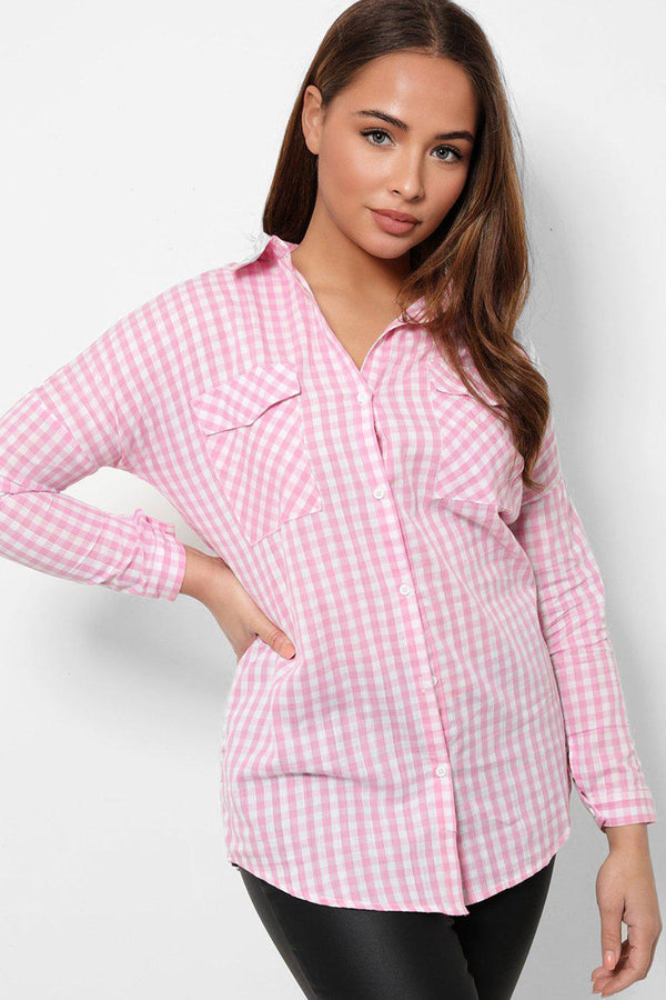 White Pink Check Print Casual Shirt-SinglePrice