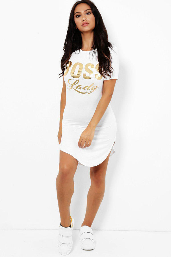 Gold Foil Print Slogan White T-Shirt Dress-SinglePrice
