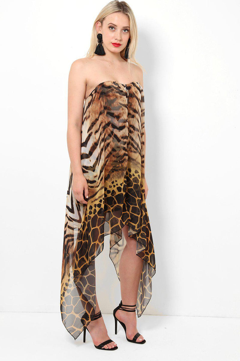 Brown Bandeau Animal Printed Dress-SinglePrice