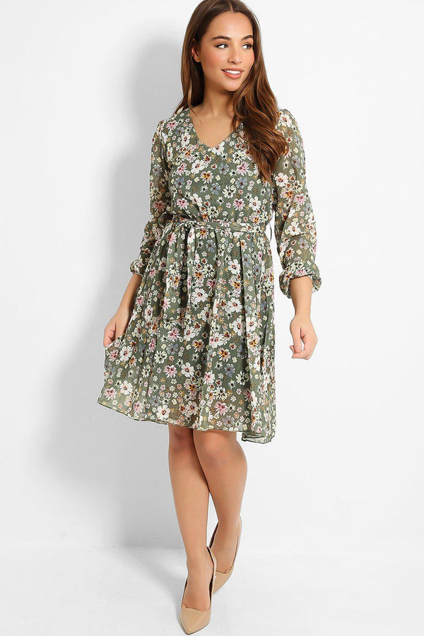 Green Spring Flowers Print Fully Lined Dress - SinglePrice