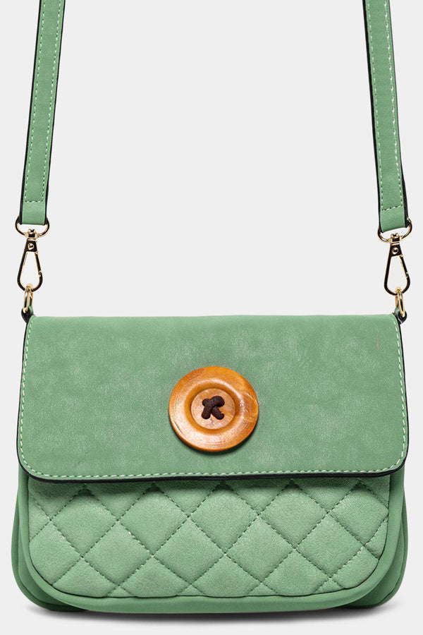 Green Button Detail Mini Crossbody Bag - SinglePrice
