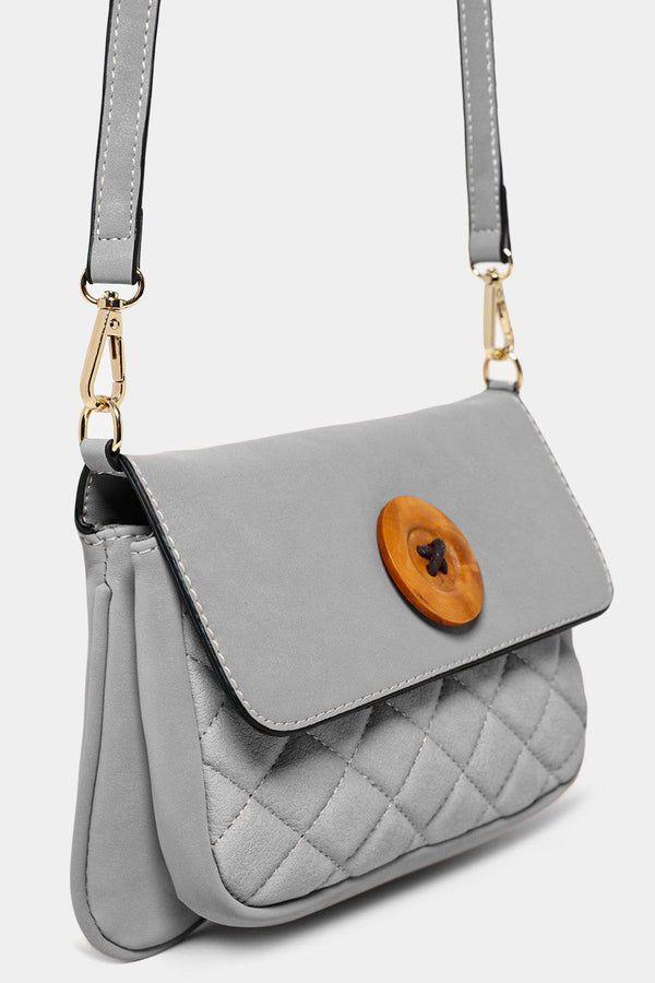 Grey Button Detail Mini Crossbody Bag - SinglePrice