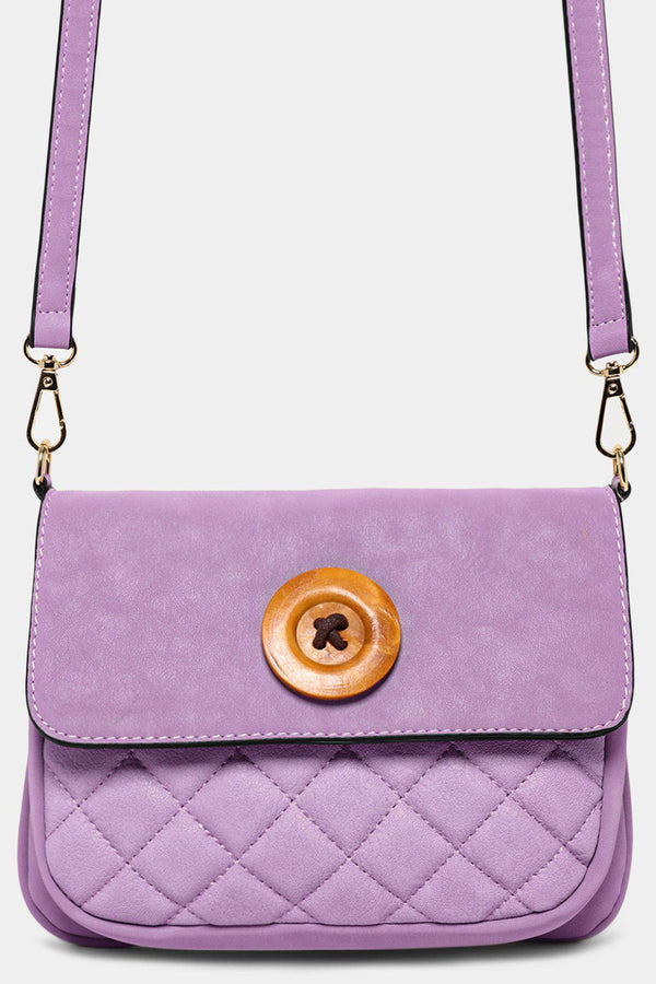 Purple Button Detail Mini Crossbody Bag - SinglePrice