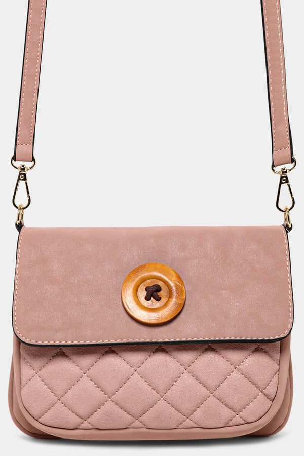 Pink Button Detail Mini Crossbody Bag - SinglePrice