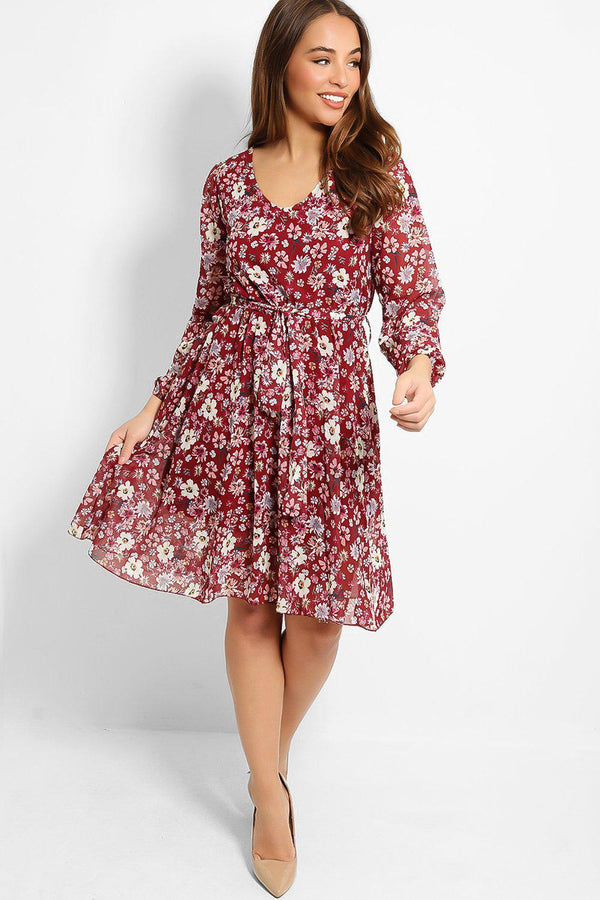 Red Spring Flowers Print Fully Lined Dress - SinglePrice
