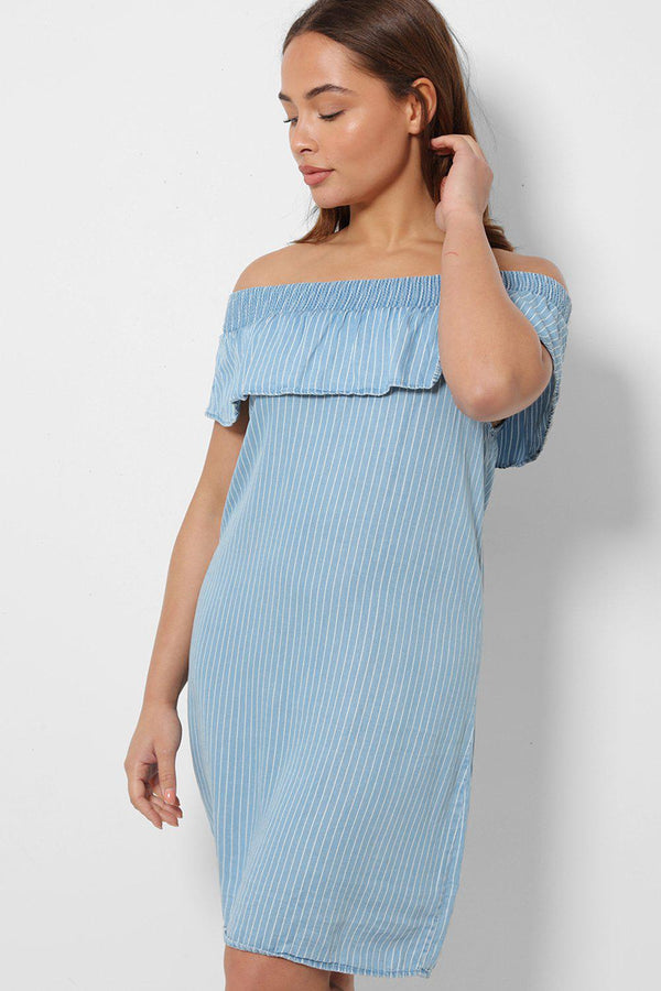 Blue Denim Off Shoulder Dress In Stripes - SinglePrice