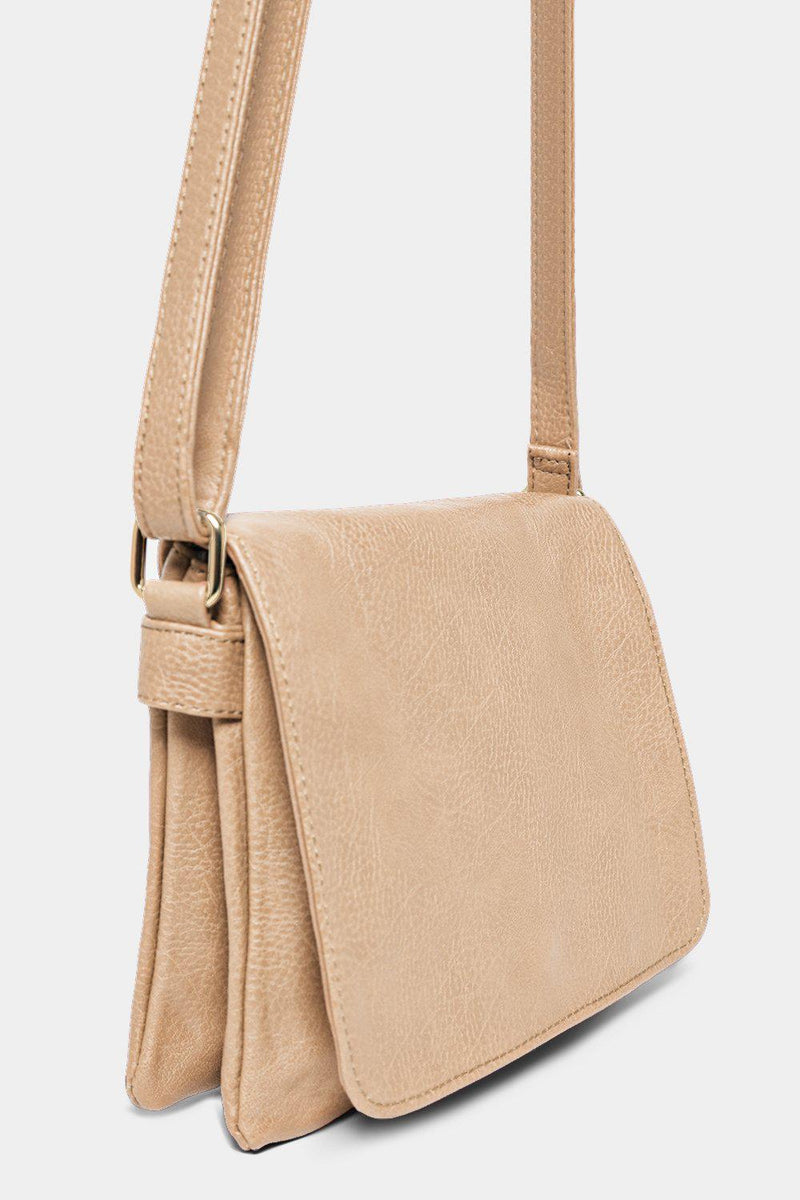 Beige Oversized Flap Twin Compartment Messenger - SinglePrice