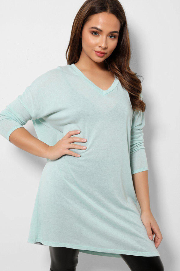 Lightweight Knit Glitter Wings Blue Tunic Top