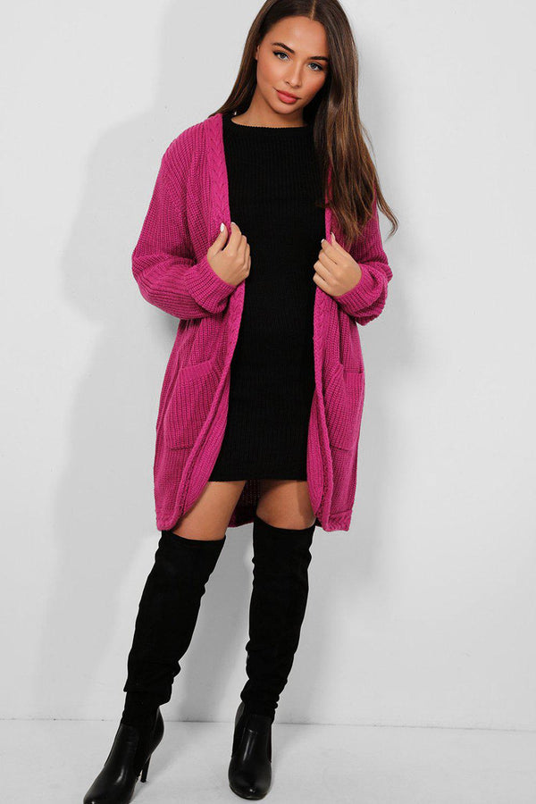 Purple Braided Trim Open Front Chunky Knit Cardigan